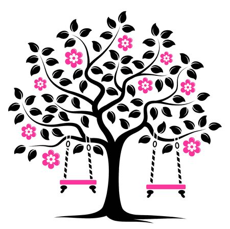 tree isolated: vector flowering tree with swings isolated on white background Illustration