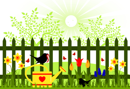 picket: vector spring garden and picket fence with spring flowers Illustration