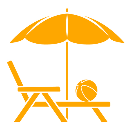 deck chair isolated: vector deck chair under beach umbrella isolated on white background