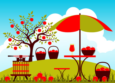 orchard fruit: vector fruit press and table with umbrella in apple orchard