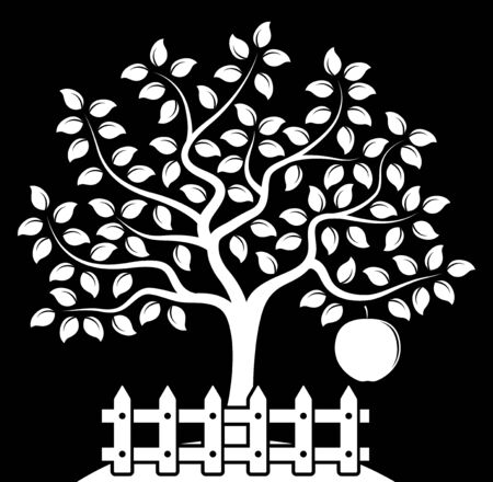 picket: vector apple tree with one big apple behind picket fence isolated on black background Illustration
