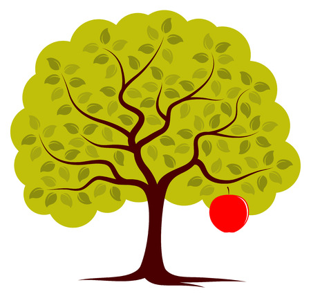 apple green: vector apple tree with one big apple isolated on white background Illustration