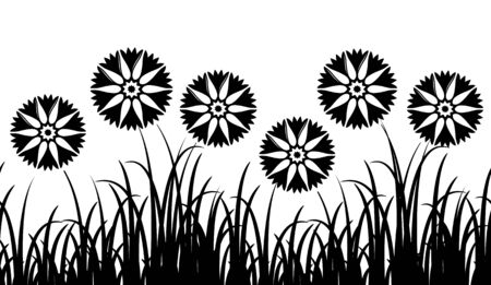 grass isolated: seamless border with cornflowers in grass isolated on white background Illustration