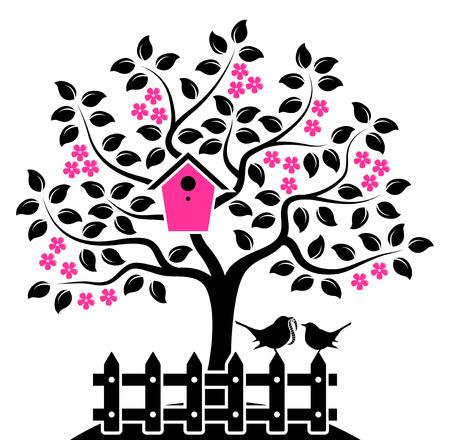 picket fence: flowering tree with nesting bird box and picket fence with mother bird and baby bird isolated on white background Illustration