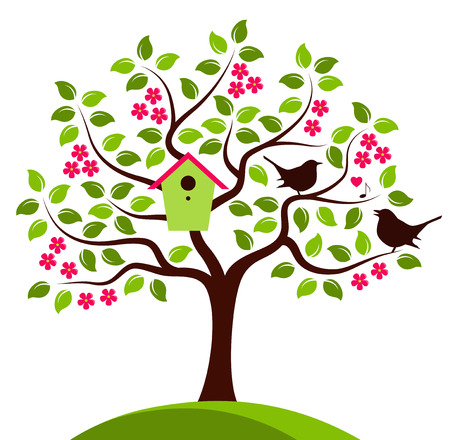 nesting: vector flowering tree with nesting bird box and couple of birds isolated on white background Illustration