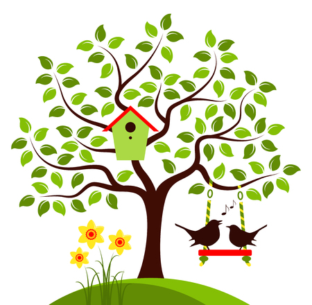 bird box: vector tree with nesting bird box, swing and couple of birds isolated on white background