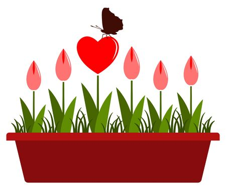 butterfly isolated: vector heart flowers with butterfly in planter isolated on white background Illustration