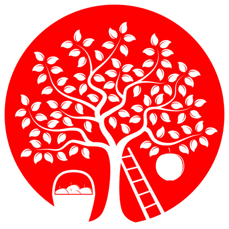 big apple: vector apple tree with one big apple, basket of apples and ladder isolated on red round