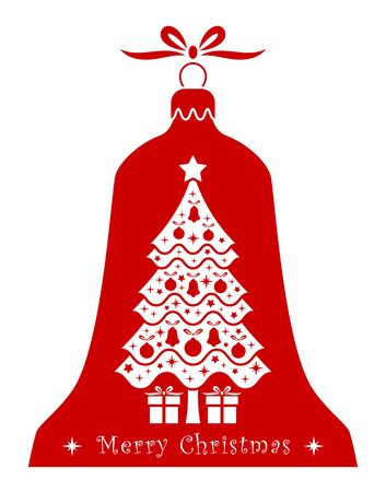 christmas gifts: vector christmas tree and gifts in christmas bell isolated on white background Illustration