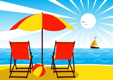 deck: vector deck chairs under umbrella on the beach Illustration