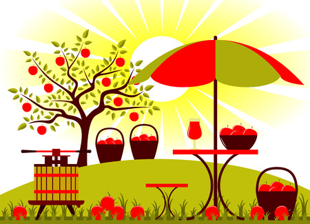 orchard fruit: fruit press and table with umbrella in apple orchard