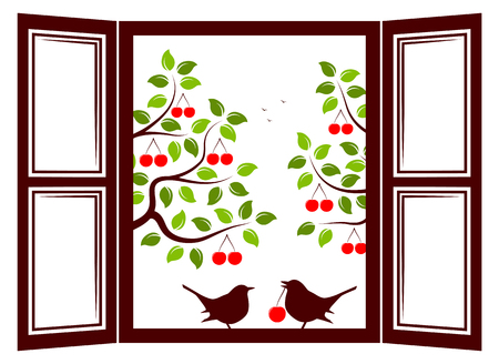 drupe: vector couple of birds in the window and cherry trees outside the window