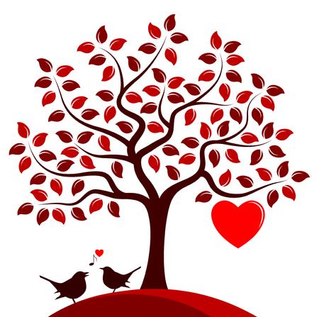 Herz-Baum mit einem großen Herzen und ein paar Vögel isoliert auf weißem Hintergrund