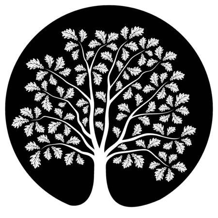 tree isolated: oak tree isolated on black round Illustration