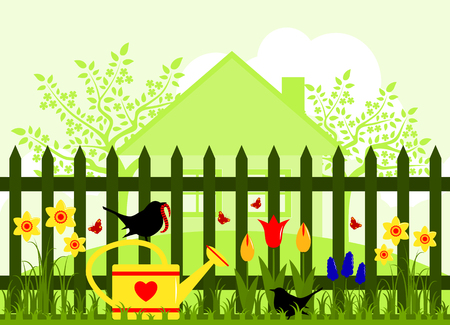 picket fence: spring garden and picket fence with spring flowers Illustration