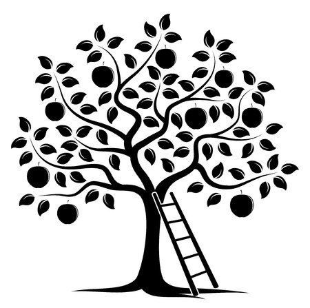 nature silhouette: apple tree and ladder isolated on white background