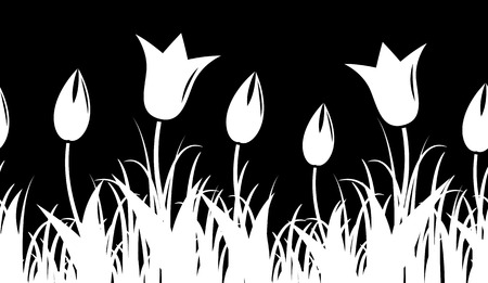 spring bed: seamless tulips border isolated on black background Illustration