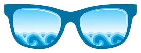 sunglasses isolated: waves in sunglasses isolated on white background