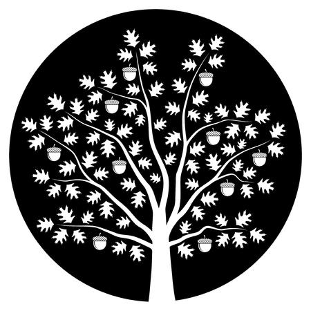 oak tree isolated: oak tree isolated on black round Illustration