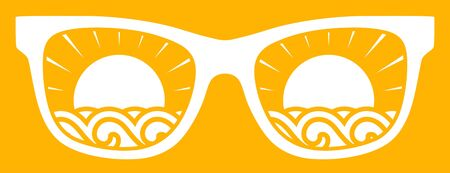 sunglasses isolated: waves and sun in sunglasses isolated on yellow background Illustration