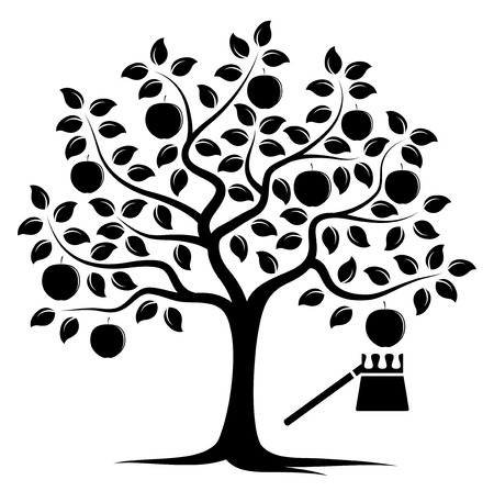 picker: apple tree and fruit picker isolated on white background Illustration