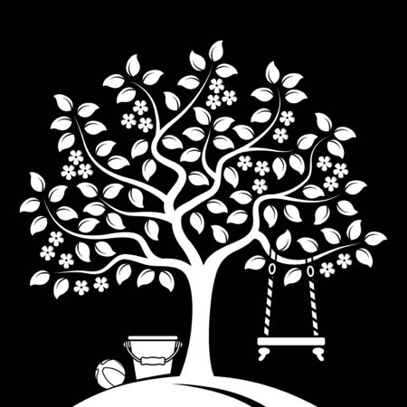 ball park: vector flowering tree with swing, bucket and ball isolated on black background Illustration