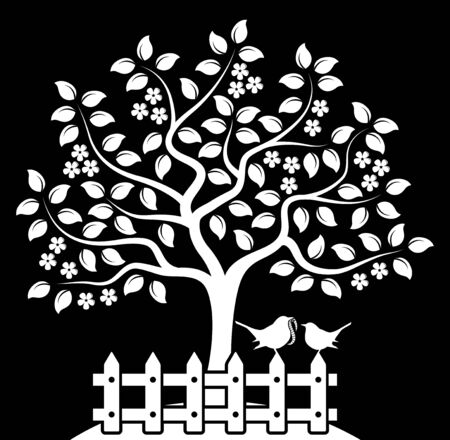 picket: vector flowering tree and picket fence with mother bird and baby bird isolated on black background Illustration