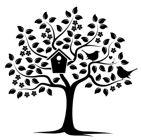 bird box: vector flowering tree with nesting bird box and couple of birds isolated on white background Illustration