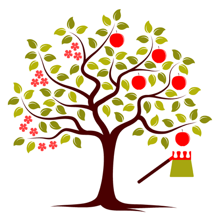 picker: vector apple tree in two seasons and fruit picker isolated on white background