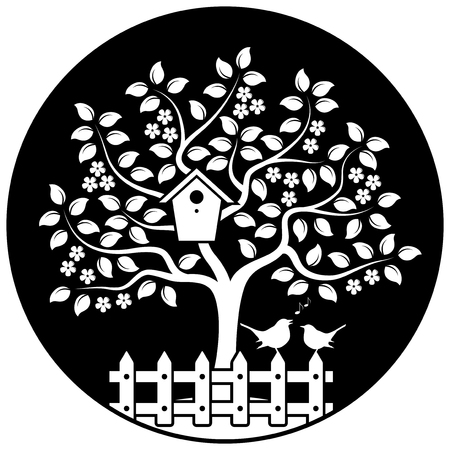 bird box: vector flowering tree with nesting bird box and picket fence with couple of birds isolated on black round Illustration