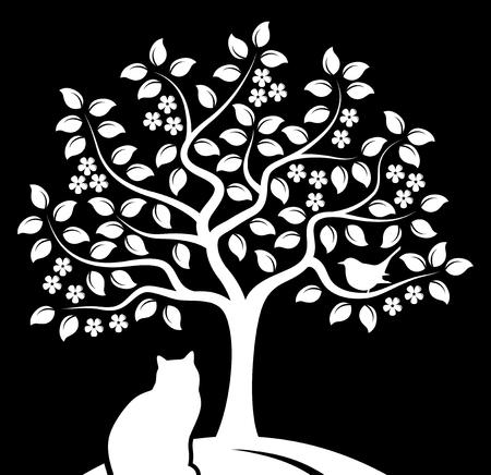 vector bloeiende boom met vogel en kat die op zwarte achtergrond