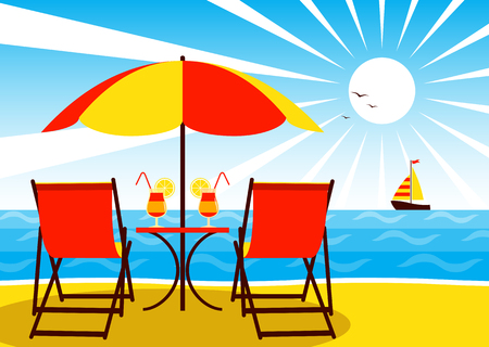 vector deck chairs under umbrella on the beach and sailboat floating on the sea