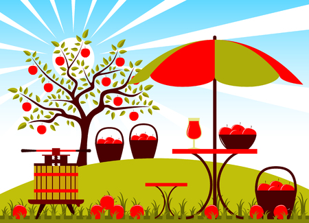 vector fruit press and table with umbrella in apple orchard