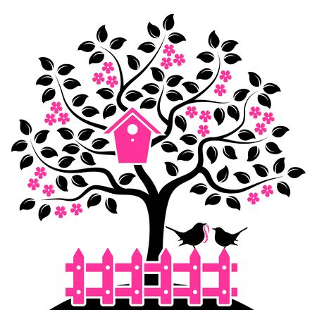 vector flowering tree with nesting bird box and picket fence with mother bird and baby bird isolated on white background