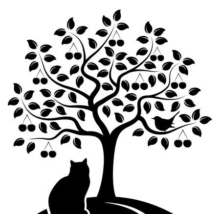 Kirschbaum mit Vogel und Katze isoliert auf weißem Hintergrund