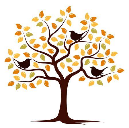 arbre automne et oiseaux isolé sur fond blanc