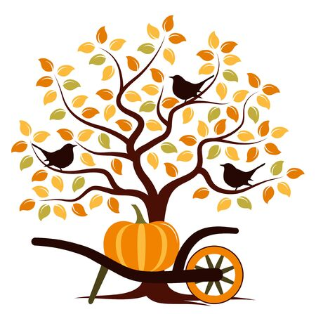 barrow: autumn tree with birds and hand barrow with pumpkin isolated on white background