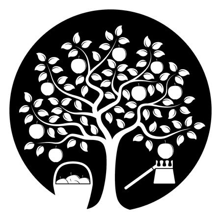 picker: vector apple tree with basket of apples and fruit picker isolated on black round