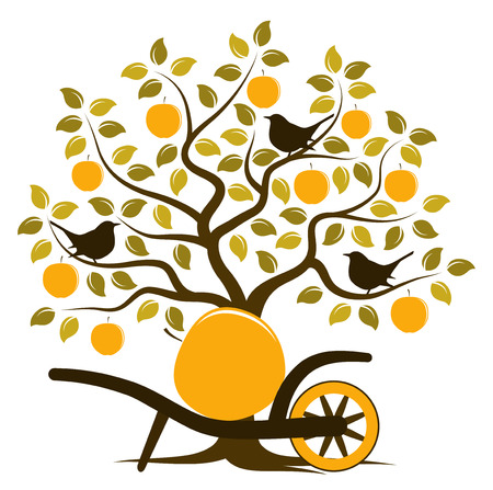 vector apple tree with birds and hand barrow with one big apple isolated on white background Illustration