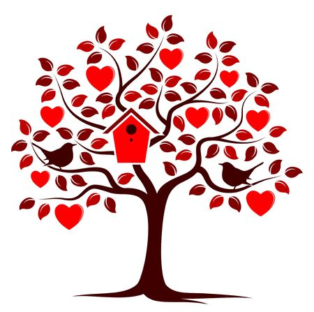 vector heart tree with nesting bird box and couple of birds isolated on white background Illustration