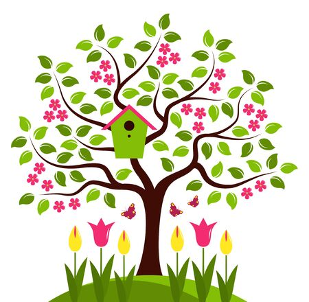 bird box: vector tree with nesting bird box and tulips isolated on white background Illustration