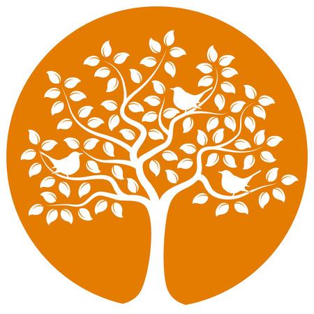 tree and birds isolated on orange round