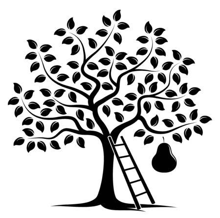 vector perenboom met een grote peer en ladder op een witte achtergrond Vector Illustratie