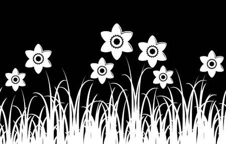 tuft: seamless vector border with daffodils in grass isolated on black background
