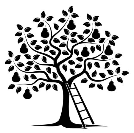 vector pear tree and ladder isolated on white background Illustration