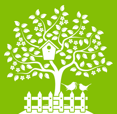 picket green: vector flowering tree with nesting bird box and picket fence with mother bird and baby bird isolated on green background