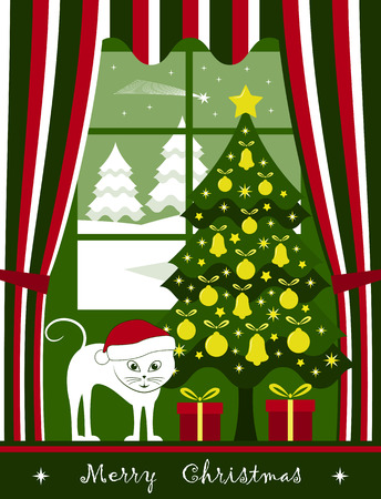 vector christmas tree with gifts and cat at window and snowy landscape outside window
