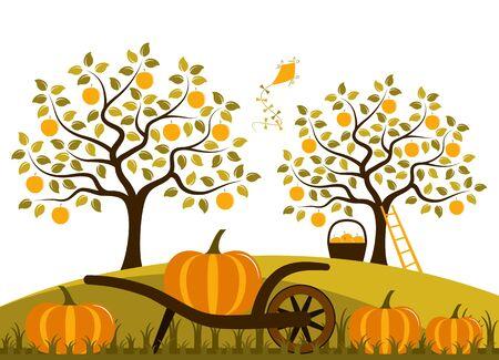 vector hand barrow with pumpkins in autumn garden