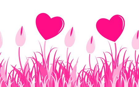 vector seamless border with heart flowers in grass isolated on white background