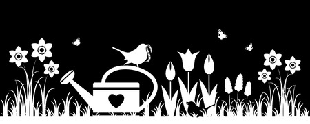 tuft: vector spring flowers, watering can and mother bird bringing worm isolated on black background